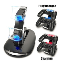 soporte del controlador ps4 Rebajas Al por mayor-LED Dual Charger Dock Mount soporte de carga USB para PlayStation 4 PS4 Xbox One Gaming controlador inalámbrico con caja al por menor OTH775