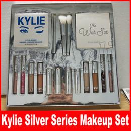 Wholesale Makeup Lipstick Palette - Kylie Jenner Silver Series Makeup Set Wet Set Blue Honey Palette Skin Concealer Lipstick Lip Gloss Make up Brushes 18 in 1 Kit