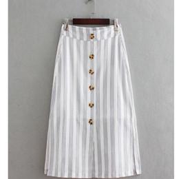 полосатая миди юбка Скидка 2018 New Women vintage striped buttons linen midi a line skirt ladies fashion business split chic casual slim  skirt QUN073