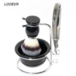 4 unid   set Cepillo de Afeitar Soporte de Metal Tazón de Acrílico con  Maquinilla de afeitar de Borde Recto 877fa2829bf0