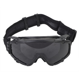 Wholesale tactical safety goggles - Tactical Anti-fog Anti-dust Safety Goggles Glasses Eyewear with Fan and 1 Interchangeable Lens for Outdoor Paintball