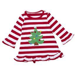 Красное рождественское платье для девочки онлайн-Xmas Baby Girl Striped Red Dresses Kids Xmas Dress For Girls 2017 New Bebes Vestido Baby Girl Christmas Tree Dresses Outfit 1-6T