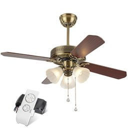 Wholesale Wood Knobs - Continental Retro Luxurious ceiling fan Loft Industrial Ceiling Fans with Lights for Restaurant Ultra-quiet Living Room Wood Fan