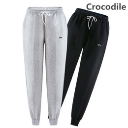 Wholesale Men S Brands Harem Pants - Hot Brand Men Pants 100% Cotton Hip Hop Harem Joggers Pants 2018 Male Crocodile Embroidery Trousers Mens Joggers Solid Pants Sweatpants