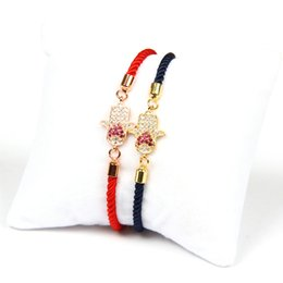 Wholesale Hand Chain Bracelet For Men - Wholesale 10pcs lot High Quality Pink Cz Turkish Lucky Heart Fatima Hand Hamsa Lace Up Bracelet Gift For Men And Women