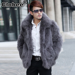 Wholesale Fox Fur Strips - 6XL 2017 Winter Men Faux Fox Fur Stand Collar Fake Fur Coats Male Imitation Outerwear 2018 Plus Size Jacket 4XL 5XL