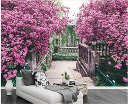 Murale rosa albero online-Carta da parati della stanza 3d panno foto su ordinazione Albero di fiore rosa Giardino europeo TV Parete di fondo murales 3d carta da parati per i ... 3 d