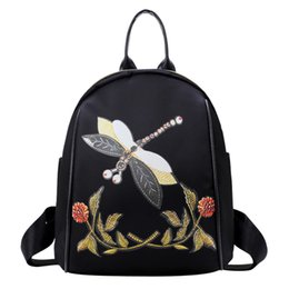 bolsa china china Rebajas Mochila femenina Mochilas escolares Bordado de estilo chino Mochila Mochila Mujer Mochilas Oxford Ladies Travel # 23