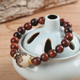 lotus seed wholesale Coupons - 2018 New TALE Design Natural Red Sanders Wood Beads White Bodhi seed Carved Lotus Flower Beads Bracelet For Women Unique Jewelry