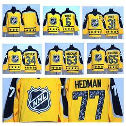 Wholesale Ice Outlet - Factory Outlet Men's #6 Weber #34 Matthews #31 Price #86 Hucherov #77 Hedman #65 Karlsson Blank Yellow 2017 All-Star Game hockey Jerseys