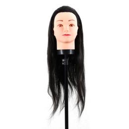 Poupée coiffeuse en Ligne-Nouveau Faux Cheveux Coiffure Dummy Tête Pratique Formation Mannequin Tête Coiffure Mannequin Poupée Avec Pince Noir