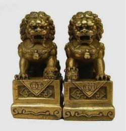 Wholesale Chinese Lion Art - China Chinese Brass Folk Fengshui Foo Fu Dog Guardion Door Lion Statue Pair