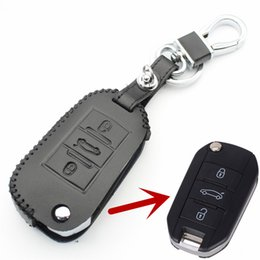 Wholesale Citroen C5 Key - Genuine Leather Flip Remote Key Case Cover For Citroen C4 C5 C6 C8 Triumph Sega New Elysee Car Styling L1619