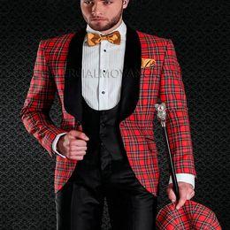 Wholesale Red Plaid Tuxedo Jacket - 2018 Red Plaid Wedding Tuxedos for Groom Wear Black Shawl Lapel One Button Trim Fit Evening Prom Men Suits Jacket Pants Vest