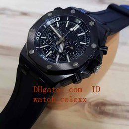 Wholesale Miyota Quartz - 5 color Mens luxury Jh N8 factory Miyota smooth sweeping flyback chronograph 316L stainless PVD steel case Stopwatch black Rubber Watches