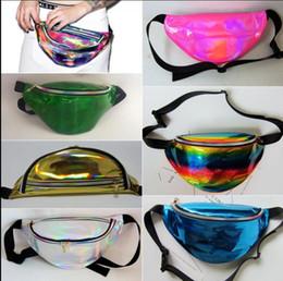 Wholesale Bum Bags - 21 COLOR Hengreda Shiny Fanny Pack Hologram Laser Waist Bag Rave Festival Metallic Hologram Bum Bag Waist Pouch Travel Beach KKA4804
