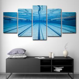 2019 peintures à l'huile de qualité femmes Décor à la maison HD Imprimer Toile Peinture À L'huile 5 Panneau Mur Art Piscine Sous-Paysage Paysage Affiche Modulaire Photos