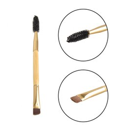 Wholesale Bamboo Hair Comb - Professional Makeup Tools Bamboo Handle Double-end Eyebrow Brush + Eyebrow Comb Makeup Brush for Eyebrow New Makeup Brushes 2805050
