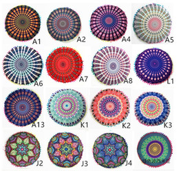 Wholesale Indian Cushion Covers - Round Cushion Pillow Covers Indian Mandala Meditation Pillow Case Sofa Cushion Cover Indian Bohemian Floor Pillows Cover