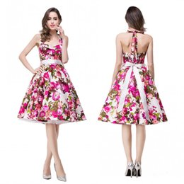 Wholesale Flower Print Bridesmaid Dresses - $9.99 Free Shipping Flowers Printed Knee Length Summer Cocktail Homecoming Prom Dresses with Sash A Line Mother Afternoon Tea Dress CPS284