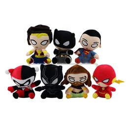 Wholesale Flash Spiderman - The black Panther plush dolls toy superman spiderman batman Harley Quinn flash toys super heroes Alliance dolls