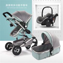 blaue wiege Rabatt 2018 hohe landschaft Luxus 3 in 1 säuglingskinderwagen Trolley Autositz Kinderwagen Buggy 0-3 Jahre Kinderwagen Für Neugeborene