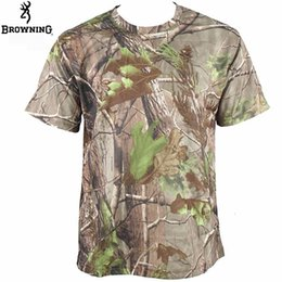 Pantalones cortos de camuflaje táctico online-SAENSHING Camisa de camuflaje Browning Camisa de caza de senderismo Quick Dry Outdoor T Manga corta Coolmax Camo Tactical Tops