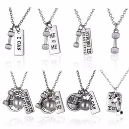 Wholesale Kettlebell Jewelry - Fitness Gym Pendant Jewelry Lover Friend Bodybuilding Necklaces Men Women Sport Kettlebell Barbell Dumbbell DIY Necklace Collier