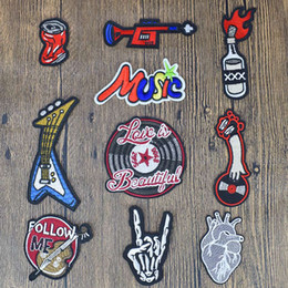 Wholesale rock patches - 10PCS Rock Series Patches Ironing on Sewing Jackets Embroidery Patches for Stripe Stitch Fabrics Badge Stickers for Clothes Patch Diy Craft
