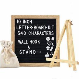 Wholesale felt frames - With Holder 10x10'' Black Gray Felt Letter Board +340 White Letters+ Craft Knife +Cloth bag DIY Oak Wood Frame Easels Message Boards