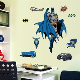 Bambini decorazione di carta da parati 3d online-Fai da te Cartoon Bat Man Wall Stickers Camera dei bambini Impermeabile Ragazzi soggiorno Wallpaper rimovibile Home Decor Arkham Asylum Movie Poster 3 4xx bb