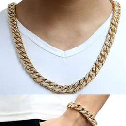 coole armbänder china Rabatt 14mm Cool Herren Kette Gold Silber Hip Hop Voller Strass Halskette Curb Cuban Link Kette und Armbänder Set