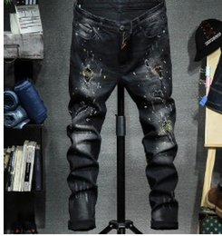 Wholesale Xs Micro - Europe and the United States trend Slim Micro-Jeans Men's personality patch patch embroidery splashed ink feet pants