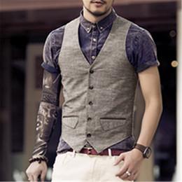 Lin hommes s costumes en Ligne-New Men Slim Vest Costume Simple Rangée Bouton Casual Lin Gilet Gilets Hommes Veste Sans Manches British Printemps Costume Gilet