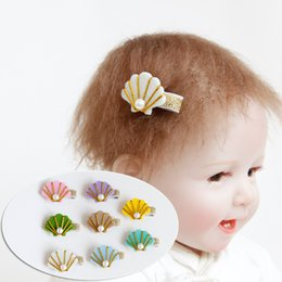 Wholesale Sea Shell Fashion - 20pcs Korean Fashion Cute Glitter Felt Shell Girls Hairpins Solid Kawaii Pearl Sea Shell Hair Clips Girls Hair Accessories