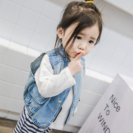 Wholesale Korean Cartoon Ring - 2018 Spring Autumn New Child Vest Boy Cartoon Permanent Ring Denim Waistcoat In Korean Boy And Girl Vest Jacket Toddler Outwear