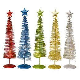 Metallo natale illuminato alberi online-Mini Glowing Christmas Tree Innovative Winding Light Decorazione Incandescente Albero di Natale Forma Ornamento Decorazioni in metallo H847