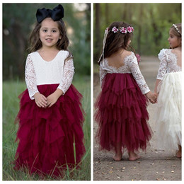292f6c88fb Cute Kids Formal Wear 2019 Lace Top Half Sleeves Tulle Puffy Skirt Flower Girls  Party Gowns V-Shape Ankle Length Custom Girls Pageant Gowns