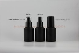 Wholesale Black Glass Paint - 60ml painted black frosted Glass sloping shoulder bottle shiny black plastic sprayer pump,perfume mist bottle,lotion bottle