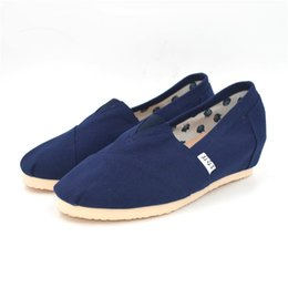 Wholesale Preppy Shoes - Preppy Style High Increasing Wedges Casual Shoes Woman Shallow Mouth Canvas Lazyman Shoes Mary Janes
