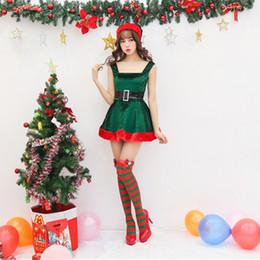 Costume verde sexy di natale online-Nuovo vestito natalizio sexy imbracatura bassa abito natalizio verde scuro