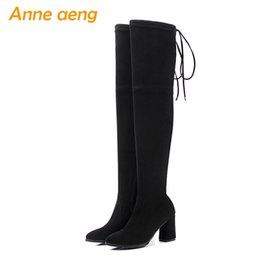 daed1b2d581b8 2018 nouvel hiver enfant en daim femmes bottes sur le genou à talon haut  Toe Zipper Sexy dames femmes chaussures cuisse noire bottes