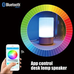 Wholesale Audio Lights - APP Control Intelligent Touch Sensor Colorful Night Light Bluetooth 4.2 Speaker TF Card MP3 Player Alarm Clock Function Lamp