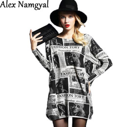 Wholesale Newspaper Sleeves - AlexNamgyal 2016 women's sweater female wool knitted stretch sweater dress woman newspaper printing large size pullovers NZ45
