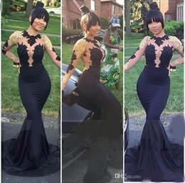 Miss nigeria s'habille en Ligne-New Luxury Red Carpet Miss Nigeria Superbe Dentelle Celebrity Robes Sheer Scoop Manches Longues Trompette Sirène Soirée Formelle Robes