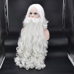 Babbo barba set completo di alta bianco vecchio barba parrucca calda di Natale da