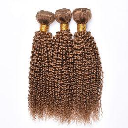 Canada Nouveau Arriver Brésilien Miel Blonde Bundles de Cheveux Humains 27 # Couleur Kinky Curly Extension de Cheveux Humains cheap curly colored hair extensions Offre