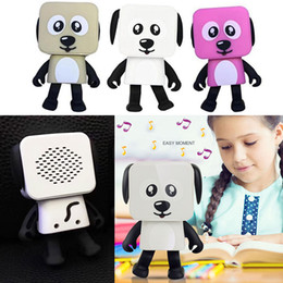 Wholesale electronic robot dogs - New Mini Wireless Bluetooth Speaker Dancing Robot Dog Stereo Bass Speakers Electronic Walking Toys Kids Gifts Speaker Party Favor WX9-195