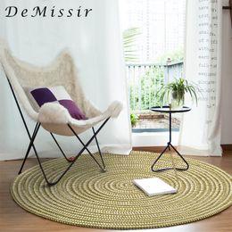 2019 hand eingehakt teppiche DeMissir Japanischen Stil Hand Hooked Solide Runde Teppich Für Wohnzimmer Stuhl tapete alfombra teppich tapis vloerkleed schapenvacht günstig hand eingehakt teppiche