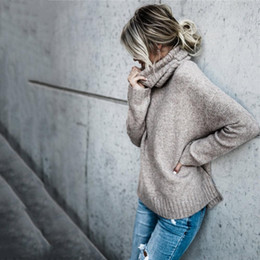 2018 Suéter de cuello alto sólido de las mujeres de punto largo otoño  invierno jerseys de manga larga Jumper mujeres Pull Femme FS5731 suéteres  largos de ... 9182ccc6ca3e